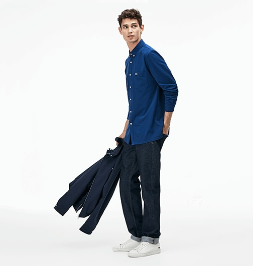 In turned-up jeans for a retro twist